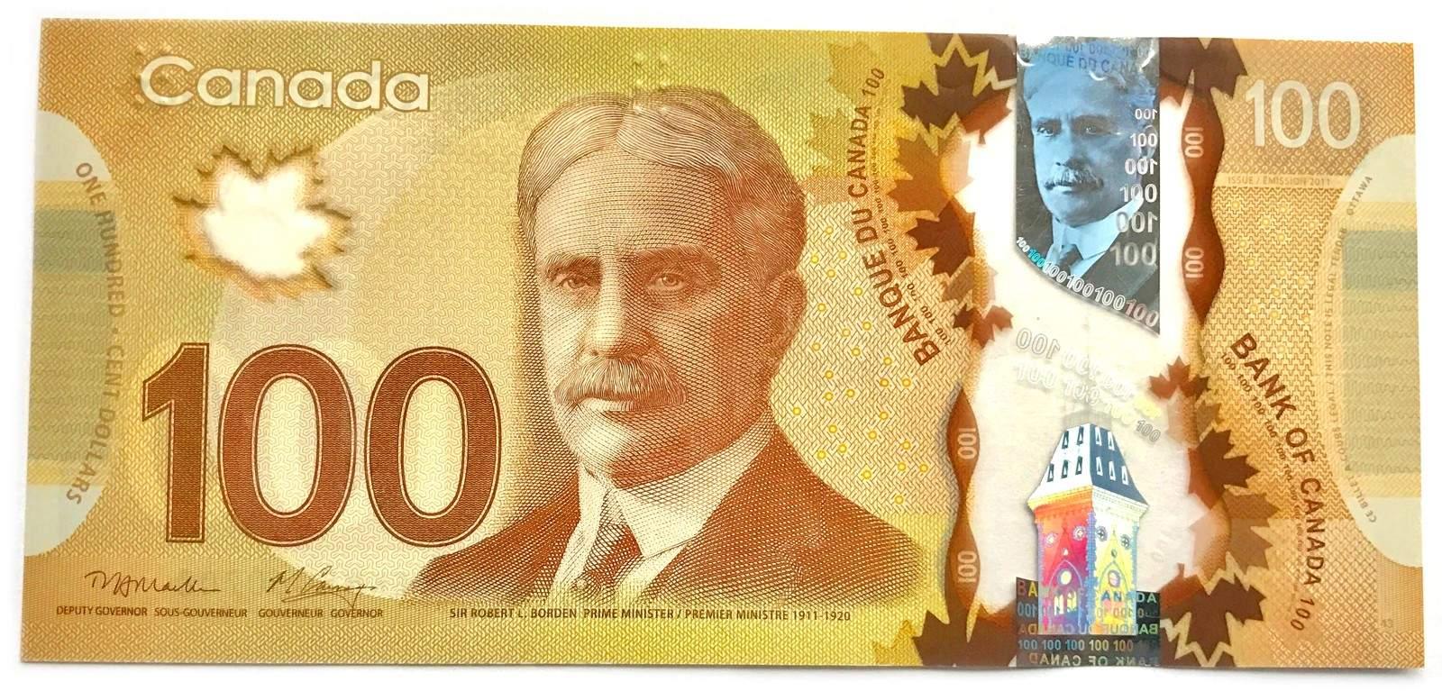 تصویر نخست وزیر کاناداRobert Bordenروی اسکناس 100 دلاری نقش بسته است