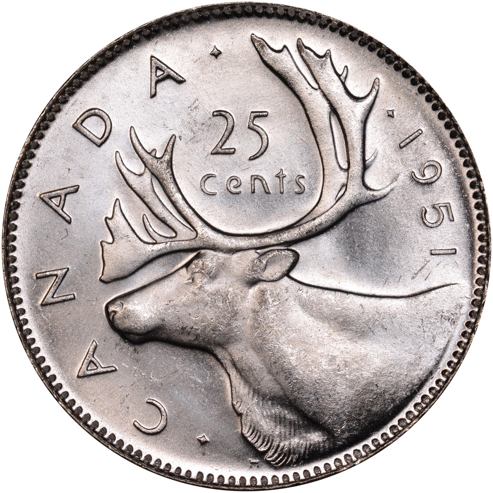 سکه کوارتر 25 سنتی کانادا که از جنس نقره ساخته میشود