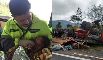 تولد نوزاد از شکم پاره مادرش در تصادف! + عکس
