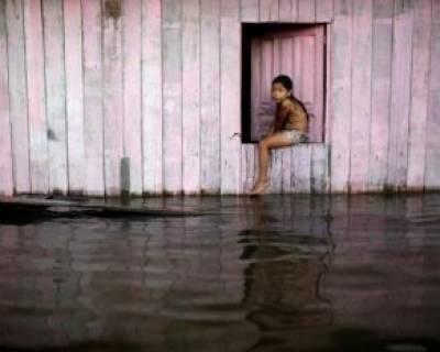 سیل در شهر آمانا در ایالت آمازون برزیل