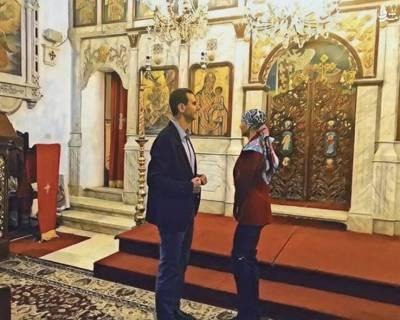 دیدار بشار اسد و همسرش از کلیسای طرطوس